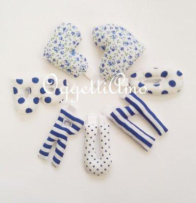 BRUNO:il suo nome in lettere di stoffa imbottite a righe e pois blu per decorare la sua cameretta1