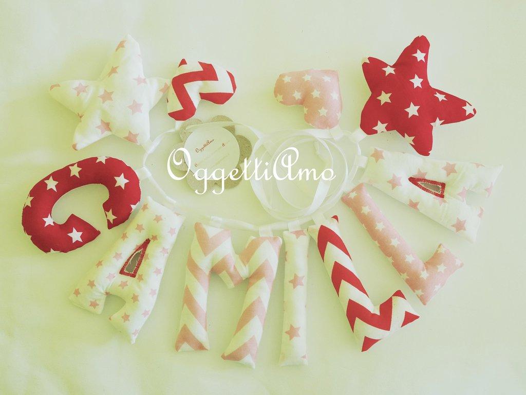 CAMILLA: una ghirlanda di lettere imbottite per comporre il suo nome in lettere rosa r rosse!