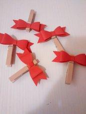 5 Mollette con fiocco, decorazione segnaposto