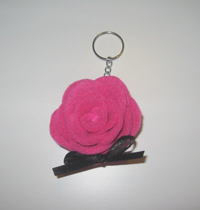 Portachiavi in feltro - rosa fucsia