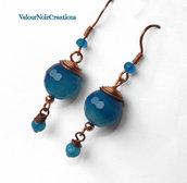 Orecchini wire rame e agata azzurra
