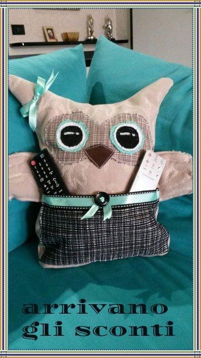 *Gufo cuscino in stoffa con tasca porta oggetti*