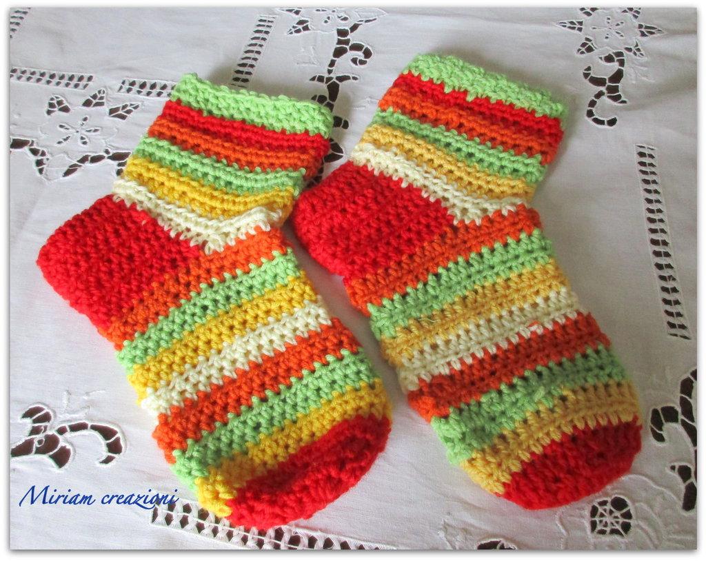 calze colorate a uncinetto