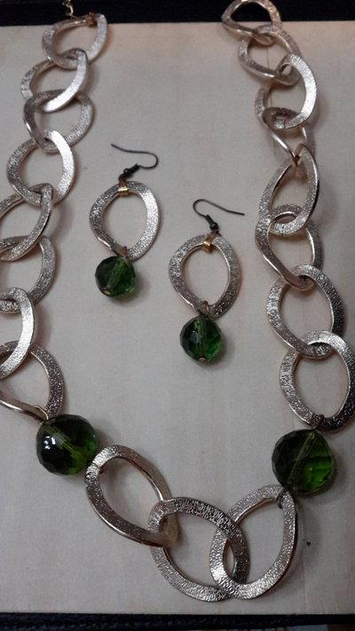 Parure collana orecchini argento tibetano oro