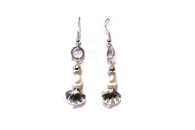 Orecchini pendenti con perla di fiume/turchese