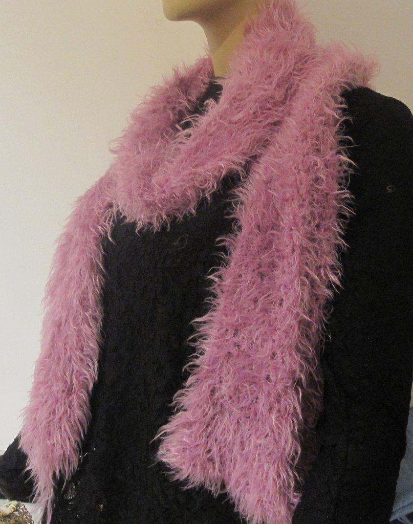 Sciarpa collo lana simil pelliccia