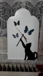 Orologio in legno gatto
