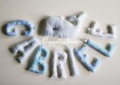 GABRIELE: una ghirlanda celeste con una decorazione a forma di balena per annunciare la sua nascita!