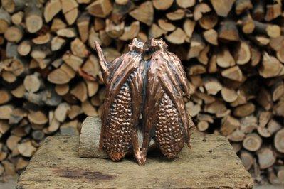 Spighe di granoturco in rame lavorate a mano da parete