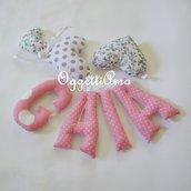 Gaia: una ghirlanda rosa e viola di lettere imbottite per decorare la sua cameretta