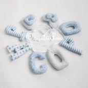 JACOPO: una ghirlanda di lettere di stoffa celesti per decorare con il suo nome la cameretta.