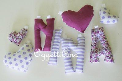 NINA: una ghirlanda di lettere di stoffa imbottite da regalare ad una neomamma!
