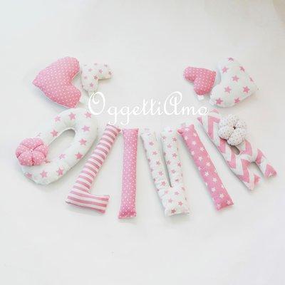 OLIVIA: una ghirlanda di lettere rosa per decorare la sua cameretta