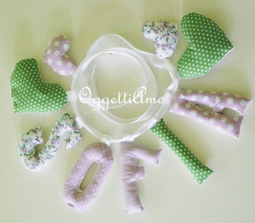 SOFIA: una ghirlanda di lettere lilla e verdi per decorare la sua cameretta!