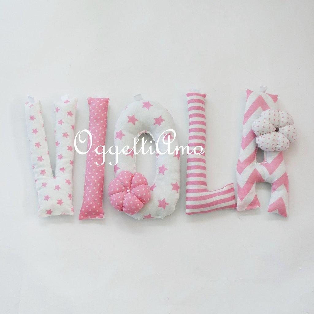 VIOLA:una ghirlanda di lettere di stoffa rosa per decorare con il suo nome la cameretta!