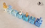 Cubi nome decorativi idea regalo decorazione cameretta bimbo animaletti e scala di blu
