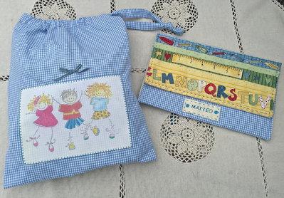 set asilo bimbo composto da sacchetto e busta - azzurro