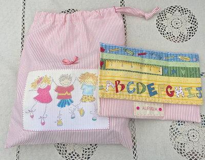 set asilo bimba composto da sacchetto e busta - rosa