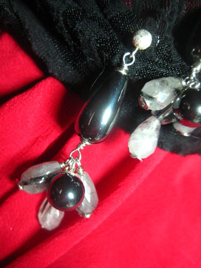 Orecchini argento 925 hematite quarzo tormalinato cristallo rocca