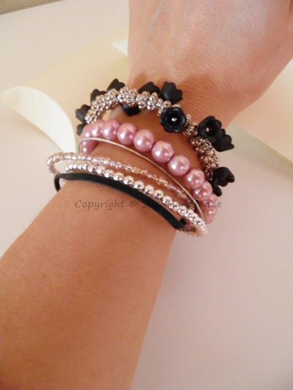 Bracciale 6 fili con perle rosa antico