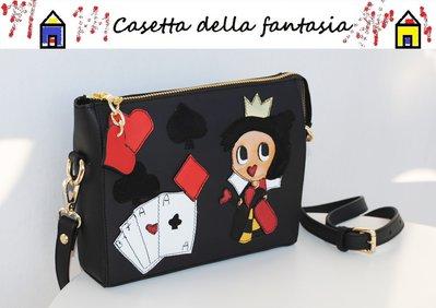"Mini Bag Vera Pelle ""Regina di cuori"" Fronte/Retro Vera Pelle"