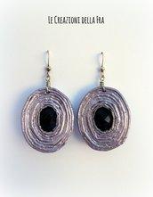 """Orecchini """"spirale di carta"""" ovali - lilla e nero"""