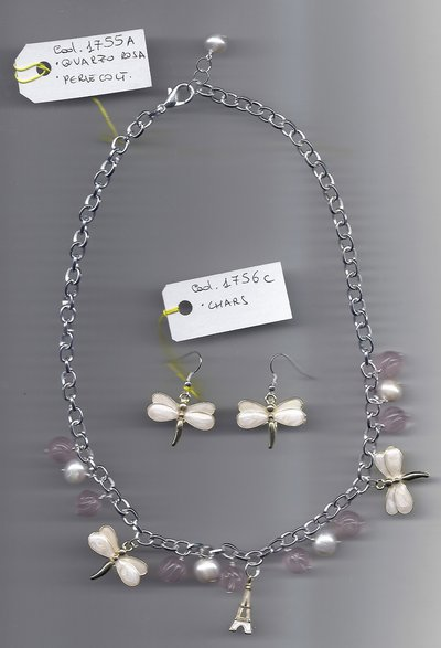 Collana charms, perle coltivate e quarzo rosa