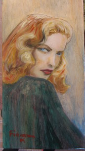 Figura femminile. Pittura ad olio . omaggio ad una diva: Laureen Bacall