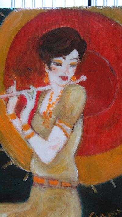 Dipinto ad olio rappresentante donna con ombrellino . 'La vezzosa'