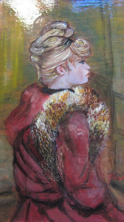 Pittura ad olio su legno. Figura femminile Ispirata a Toulouse Lautrec- Ricordo di una Mostra