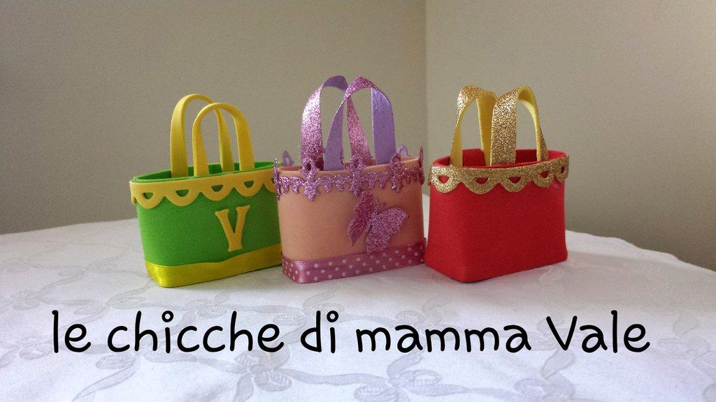 borsetta modello o-bag portaconfetti bomboniera nascita, laurea, battesimo, comunione