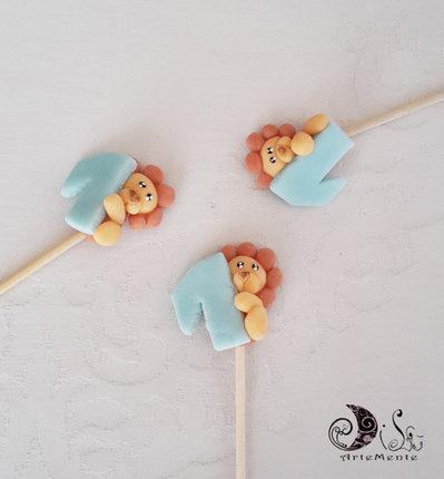 Spiedini di caramelle decorati per caramellate animaletti leone