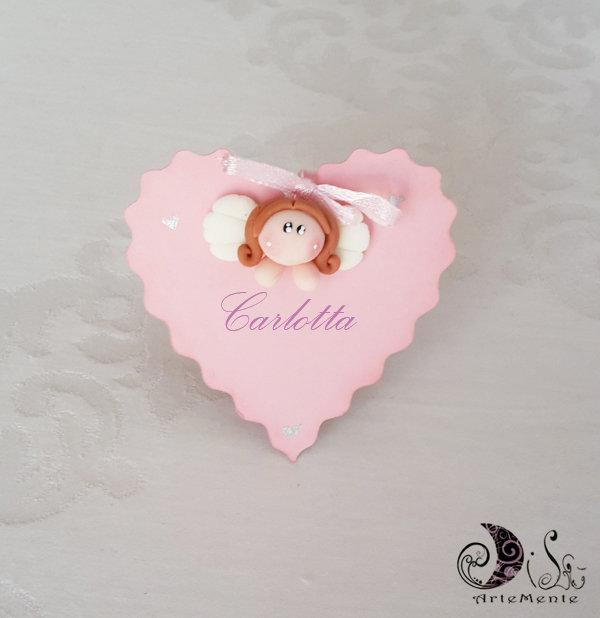 Card Art Battesimo Comunione segnaposto cuore con angelo personalizzabile