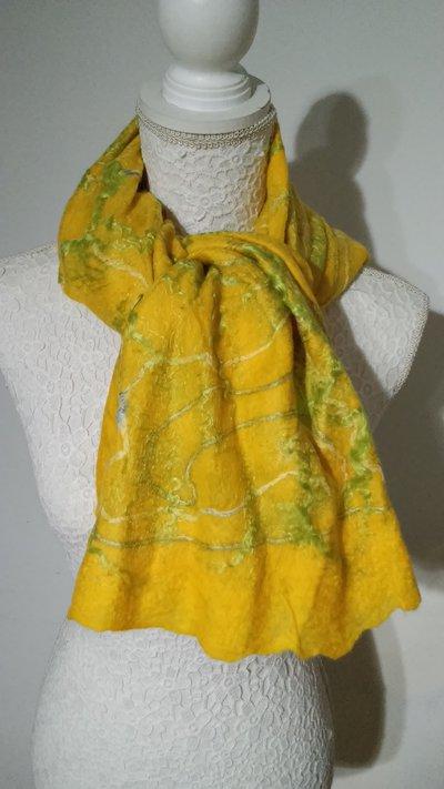 SCONTO 10% Foulard in seta e lana infeltrita a mano