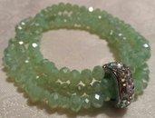 Tris bracciali elastici cristalli verde chiaro
