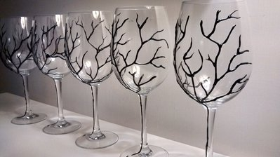 Calici da vino , Bicchieri decorati a mano , Ramo d'albero nero