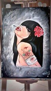 Quadro Viveros dipinto a mano , donna che fuma una sigaretta