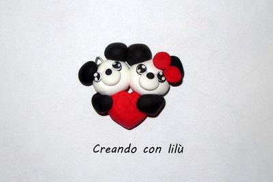 ciondolo in fimo coppia panda love