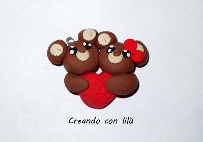 ciondoli in fimo coppia orsetti innamorati