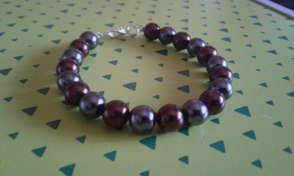 Bracciale unisex perle marroni e grige