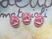 Cabochon resina con farfalla rosa antico