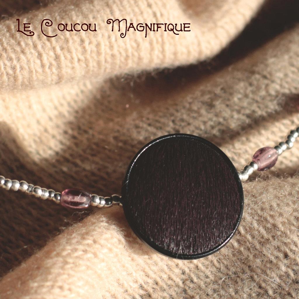 Girocollo con perline in argento e bottone vintage anni Quaranta - C.64.2015