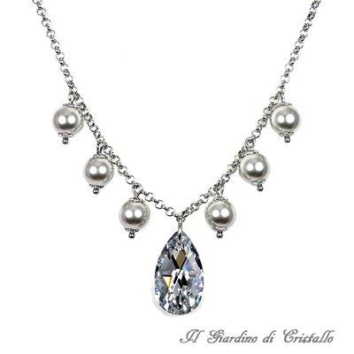 Collana goccia argento Swarovski perle grigie catena acciaio fatta a mano - Magnolia