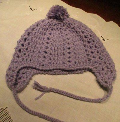 Cappello bambina viola con paraorecchie