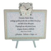 Targhetta con carrozzina versione azzurra - regalo battesimo o nascita