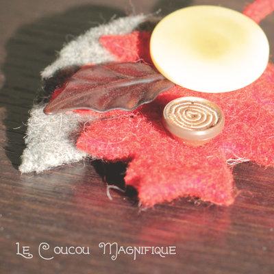 Spilla con foglie e bottoni vintage -  S.7.2016