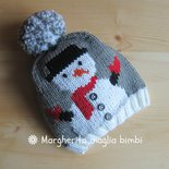 Berretto/cappello Snowman/pupazzo di neve lana merino fatto a mano a maglia