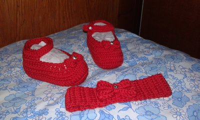 Scarpette di lana ballerine più fascia lavorate a mano