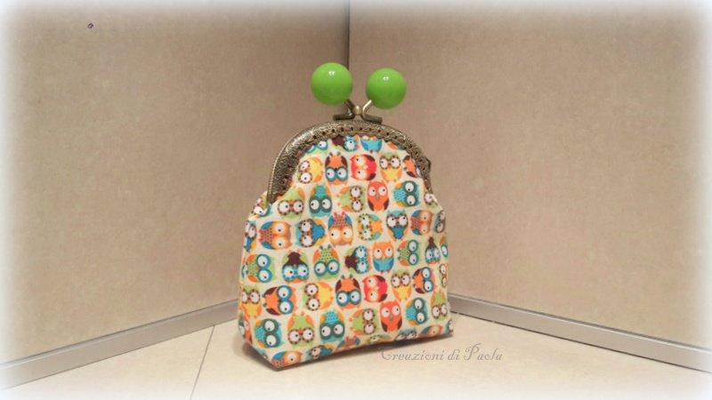 Portamonete con gufetti colorati in stoffa
