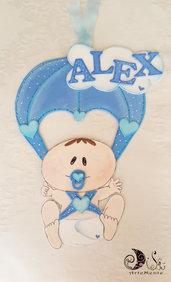 Fiocco nascita paracadute bebè per bimbo personalizzabile banner name nuvoletta